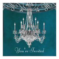 Aqua Teal Blue Chandelier Party Invitations