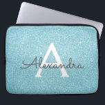"Aqua Teal Blue Glitter and Sparkle Monogram Laptop Sleeve<br><div class=""desc"">Aqua Teal Blue Faux Glitter and Sparkle Elegant Monogram Case. This case can be customized to include your initial and first name.</div>"
