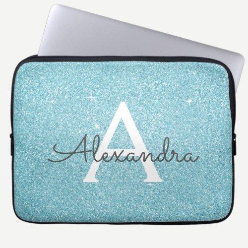 Aqua Teal Blue Glitter and Sparkle Monogram Laptop Sleeve