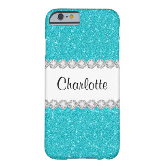 Aqua Teal Blue Glitter Bling Printed iPhone 6 Case