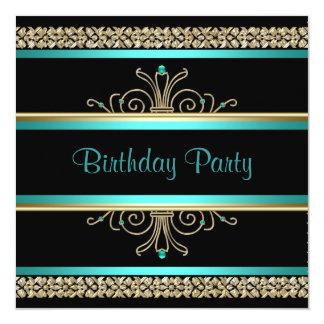 "Aqua Teal Blue Gold Black Womans Birthday Party 5.25"" Square Invitation Card"