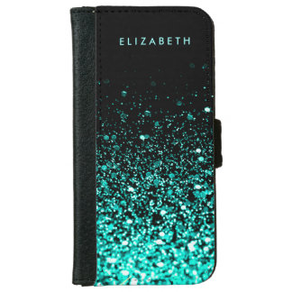 Aqua Teal Blue Green Glitter Black Faux Leather Wallet Phone Case For iPhone 6/6s