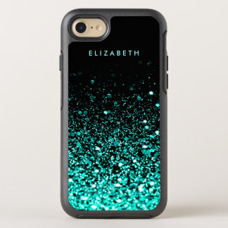 Aqua Teal Blue Green Glitter Black iPhone 7 Case