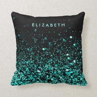 Aqua Teal Blue Green Glitter Black Throw Pillow