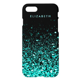 Aqua Teal Blue Green Glitter Elegant Black iPhone 8/7 Case