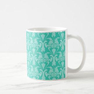 Aqua Teal Blue Green Mint Damask Mug