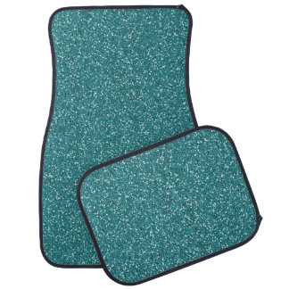 Aqua Teal Blue Green Sparkle Glitter Custom Floor Car Mat