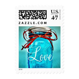 Aqua Teal Blue Mason Jar LOVE Wedding Stamps