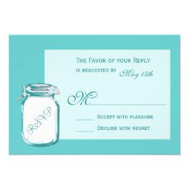 Aqua Teal Blue Mason Jar Rustic Wedding RSVP Cards