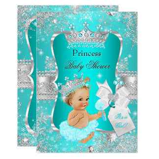 Aqua Teal Blue Princess Baby Shower Blonde Girl Card
