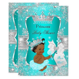 Aqua Teal Blue Princess Baby Shower Ethnic Card