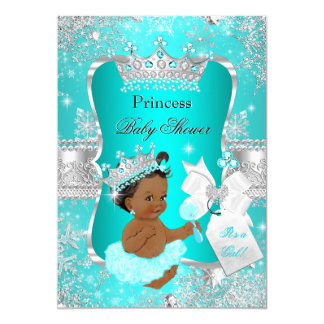 Aqua Teal Blue Princess Baby Shower Ethnic Card
