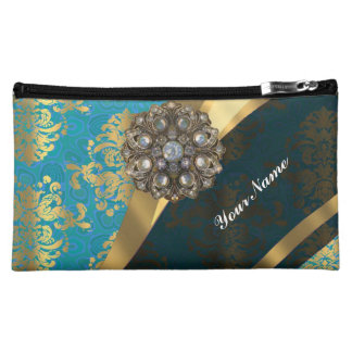 Aqua teal blue vintage damask pattern cosmetic bag