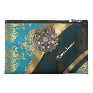 Aqua teal blue vintage damask pattern travel accessory bag