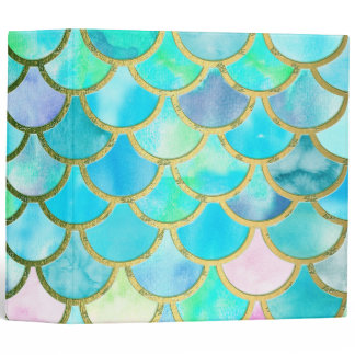 Aqua Teal Blue Watercolor Mermaid Scales Pattern 3 Ring Binder