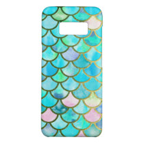 Aqua Teal Blue Watercolor Mermaid Scales Pattern Case-Mate Samsung Galaxy S8 Case