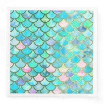 Aqua Teal Blue Watercolor Mermaid Scales Pattern Paper Dinner Napkin