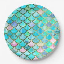 Aqua Teal Blue Watercolor Mermaid Scales Pattern Paper Plate