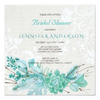 Aqua Teal Blue Watercolor Succulent Bridal Shower Invitation
