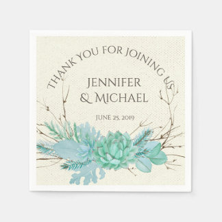 Aqua Teal Blue Watercolor Succulent Wedding Custom Napkin