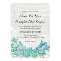 Aqua Teal Blue Watercolor Succulent Wedding Invite