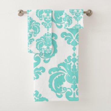 Aqua Aqua Teal Blue & White Royal Glam Damask Bath Towel Set