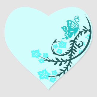 Aqua Teal Butterfly and Flowers Heart Sticker