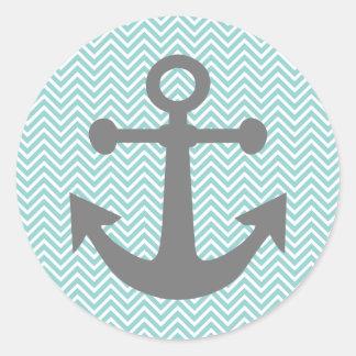 Aqua / Teal Chevron Anchor Round Sticker