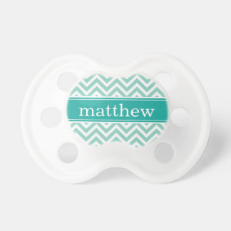 Aqua & Teal Chevron & Monogram Pacifier