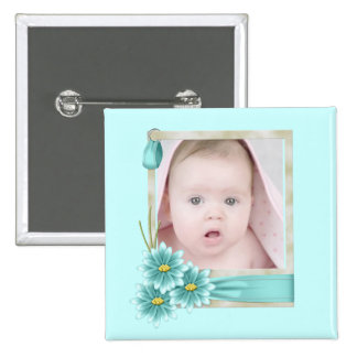 Aqua Teal Daisy Baby Girl Personalized Photogift 2 Inch Square Button
