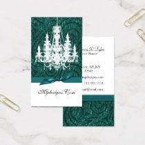 aqua teal damask chandelier Chic Business Cards