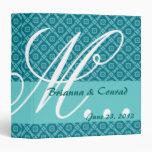 Aqua Teal Diamonds Monogram Wedding Planner G30 Vinyl Binders