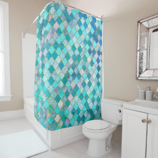 Teal Quatrefoil Shower Curtains Zazzle