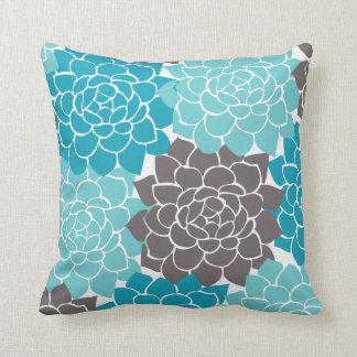 Aqua Teal Graphite Grey Flower Collage Plaid Back Throw Pillow