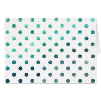 Aqua Teal Green Metallic Faux Foil Polka Dot White Card