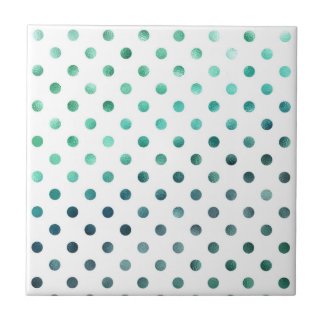 Aqua Teal Green Metallic Faux Foil Polka Dot White Ceramic Tile