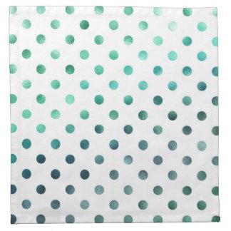 Aqua Teal Green Metallic Faux Foil Polka Dot White Cloth Napkin