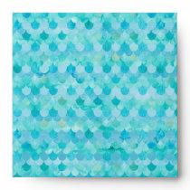 Aqua Teal Mermaid Scales Fish Scales Pattern Envelope