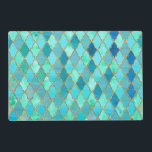 """Aqua Teal Mint Gold Oriental Moroccan Tile pattern Placemat<br><div class=""""desc"""">Beautiful Moroccan Tile pattern in Teal, Blue, Green and Gold Colors. I created with different layers. It is the perfect gift for her for the stylish lady, perfect for her birthday, sweet sixteen favor, bridal shower, perfect summer gift for her, the girly girly and modern fashionista or any occasion! Please...</div>"""