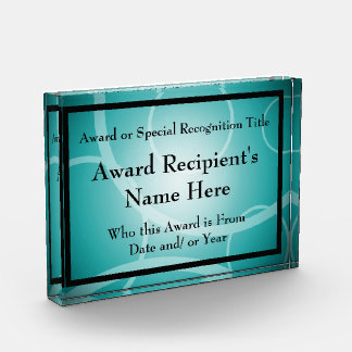 Aqua Teal Modern Personalized Acrylic Award Plaque