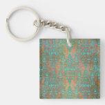 Aqua Teal over Brown Vintage Damask Design Square Acrylic Keychain