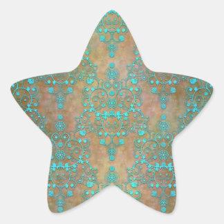 Aqua Teal over Brown Vintage Damask Design Star Sticker