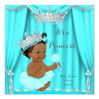 Aqua Teal Princess Baby Shower Silver Ethnic Card