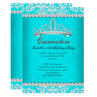 Aqua Teal Quinceanera 15th Birthday Party Tiara Card