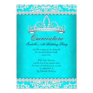 Aqua Teal Quinceanera 15th Birthday Party Tiara Card