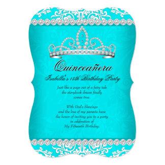 Aqua Teal Quinceanera 15th Birthday Party Tiara 5x7 Paper Invitation Card