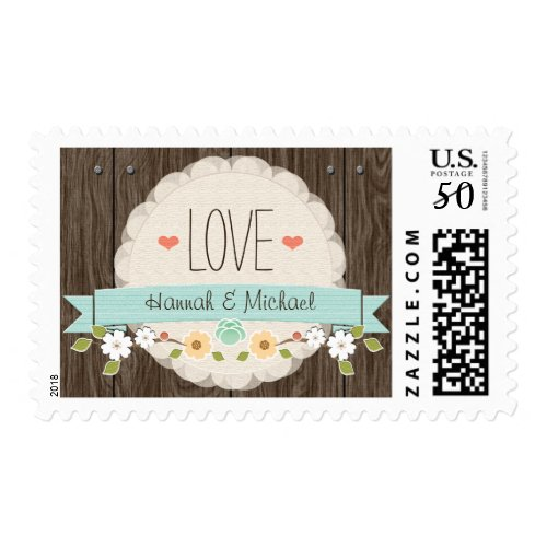 AQUA TEAL RUSTIC FLORAL LOVE WEDDING POSTAGE