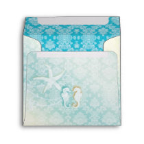Aqua Teal Sea Horse Pair Beach Wedding Envelope