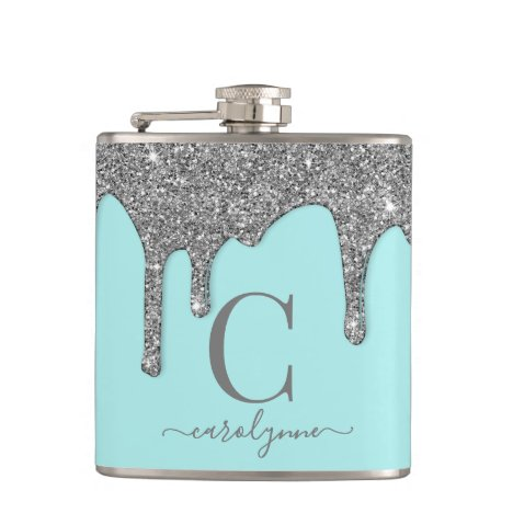 Aqua Teal Silver Sparkle Glitter Drips Monogram Flask