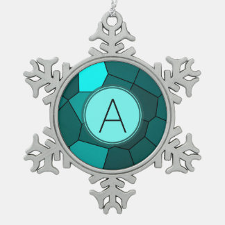 Aqua Teal Stained Glass Mosaic Snowflake Pewter Christmas Ornament